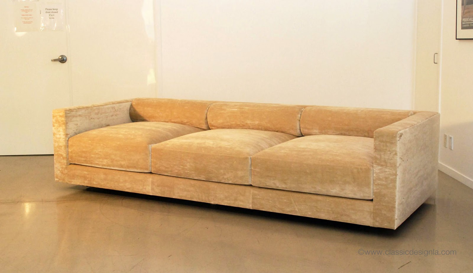 Bolster Back Velvet Sofa With Lucite Legs