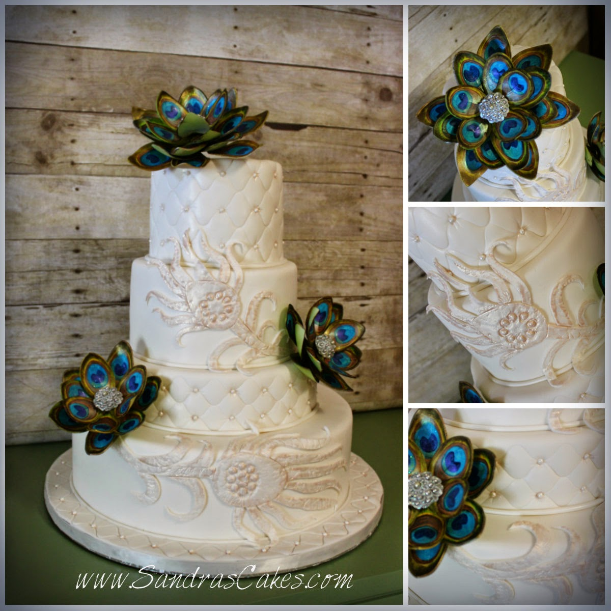 Sandra s Cakes Peacock Inspired Wedding Cake