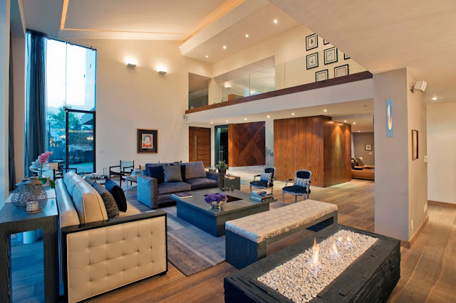 Living room with high ceilings in Mexican modern home