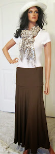 Ladies Modest Chocolate Brown Stretch Knit Jersey Maxi skirt for missionary or leisure wear
