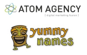 Atom Agency and Yummy Names logos