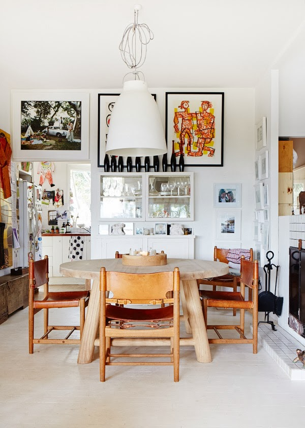 Borge Mogensen leather and oak dining chairs around a Mark Tuckey table. 2014