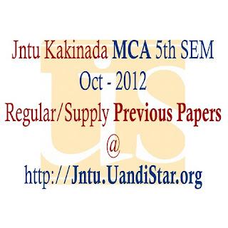 Jntu Kakinada MCA 5th Sem Oct-2012  Regular/Supply Previous Papers