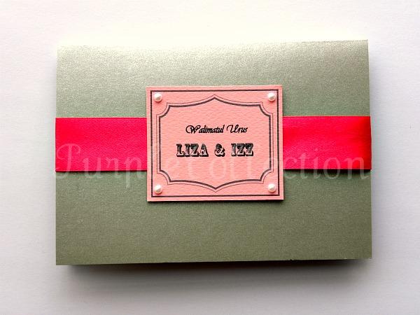 Card Code G0377 Grey Pink Grey Purple Wedding Invitation Card