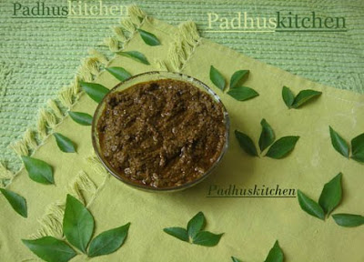 Karuveppilai thokku-curry leaves thokku