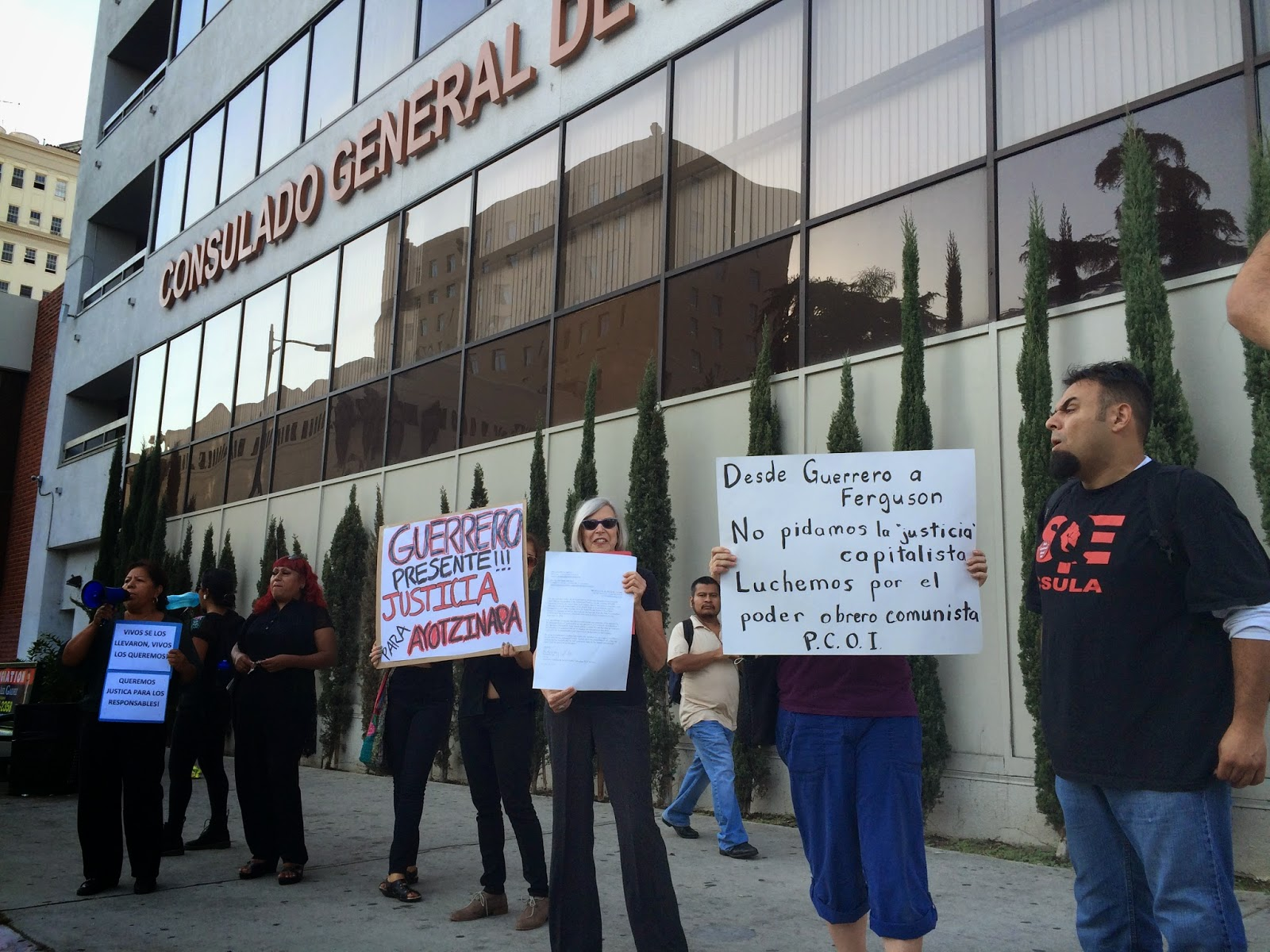 The Trinational Coalition protesting Guerrero student murders at the Mexican Consulate in Los Angeles