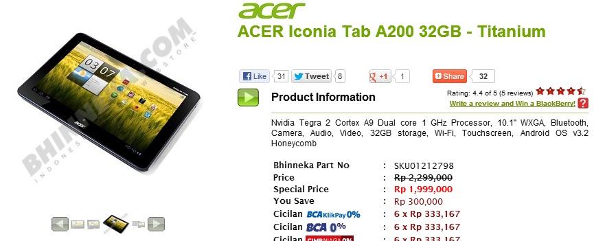 Harga Acer Iconia Tab A200 Diskon Rp 300.000