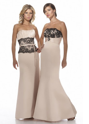 Matte+Satin+and+Lace+Strapless+Bridesmaids+Dress