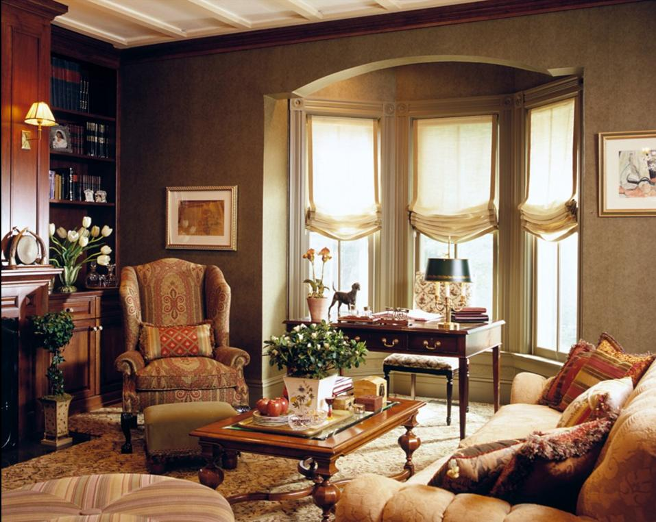 Delorme designs roman shades for Bay window design