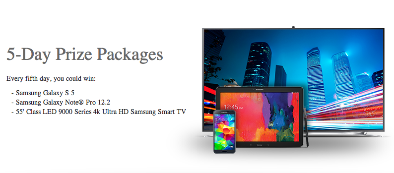 Samsung Galaxy S5 Smartphone, LED, Tablet Note Pro US Giveaway April 2014