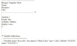 Bild: Ausschnitt des Html Codes einer Blogger Vorlage, mit ausgeblendeter Navbar. Es wurde Html Code eingefügt um die Navbar auszublenden.