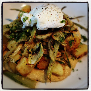 Roast Fennel, Sauteed Potatoes, Shallot Puree and Poached Egg