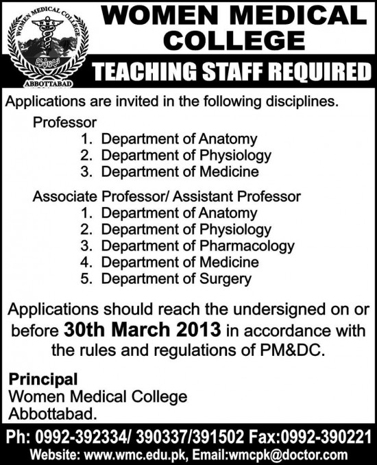 Teacher Jobs in Women Medical College Abbottabad