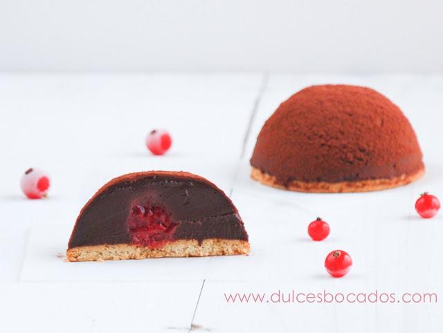 Semi esferas de chocolate y frambuesas