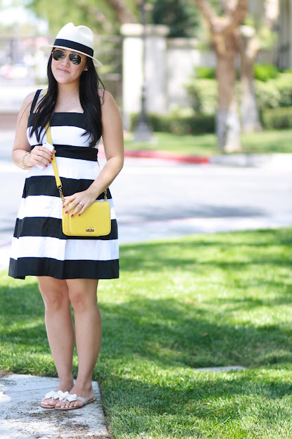 black and white, stripes, yellow bag, ray-ban, loft