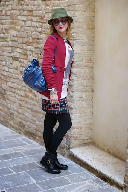 Paul & Joe jacket, green fedora hat, Carmens Padova biker boots, Fashion and Cookies, fashion blogger