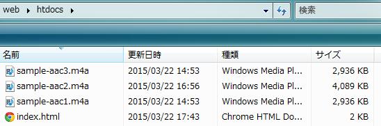 LinkStation の Web サーバのフォルダへ設置した、 WiiU で再生可能な音楽ファイル群