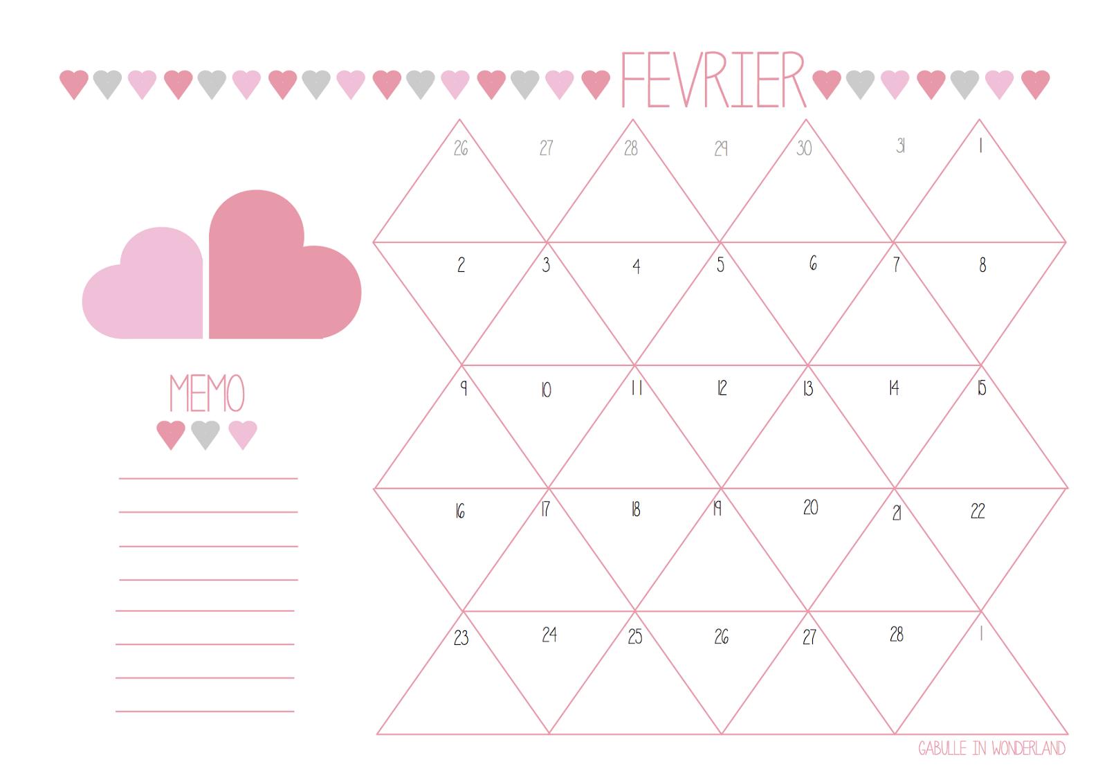 Calendriers mensuels f vrier 2015 imprimer gratuit for Calendrier jardin fevrier 2015