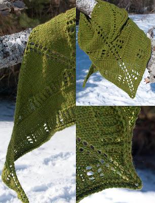 Peregrine shawlette stickad sjal ull