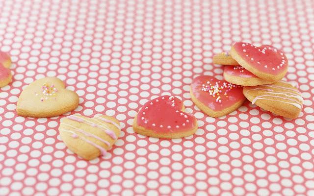 Foto met koekjes in vorm van hartjes