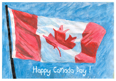 HAPPY CANADA DAY! Watercolour with Digital Text © Ana Tirolese