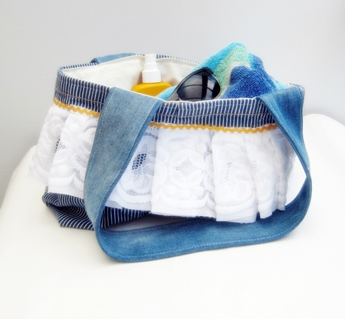 Denim bag from recycled fabrics