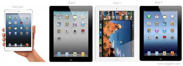 perbedaan ipad mini dnegan ipad 3, harga dan fitur tablet apple ipad, beda daris emua seri ipad