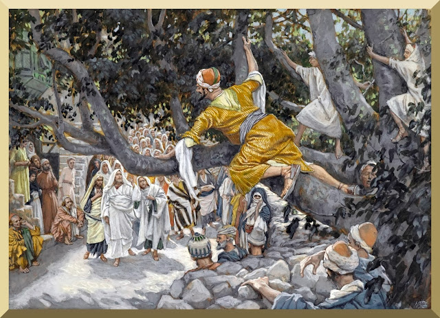 """Zacchaeus in the Sycamore Awaiting the Passage of Jesus"" -- by James Tissot"