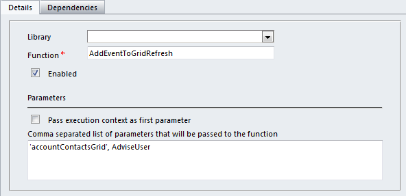 How to bind a function to the sub grid refresh event crm for Window onload