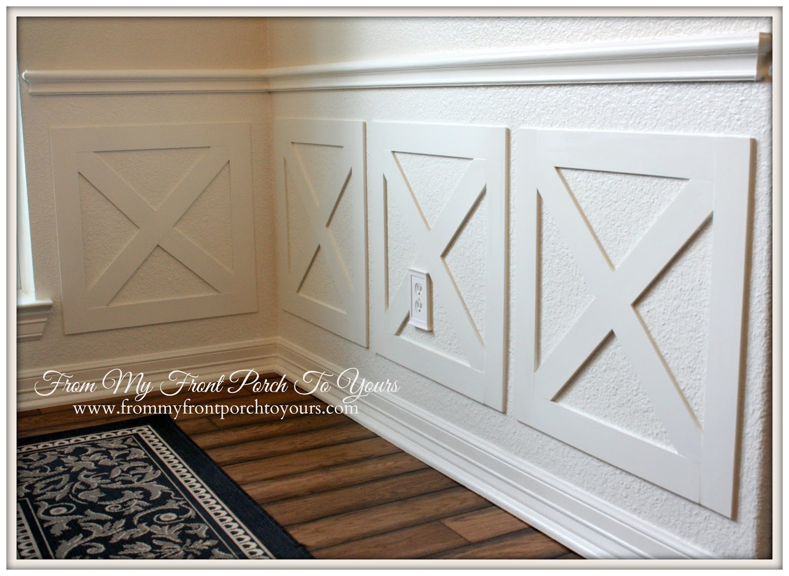 DIY Wainscoting Crossbuck Barn Door & From My Front Porch To Yours: DIY Crossbuck/Barn Door Dining Room ...