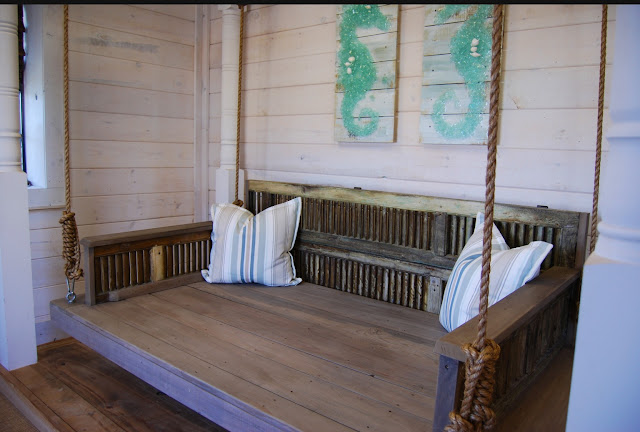 Reclaimed shutters and Antique Cypress Daybed Swing