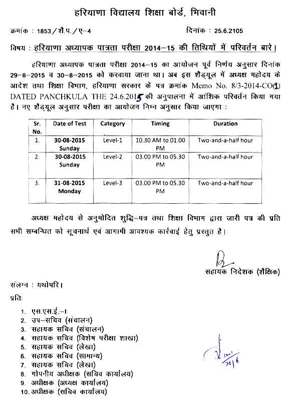 HTET 2014-15 New Examination Schedule, Dates