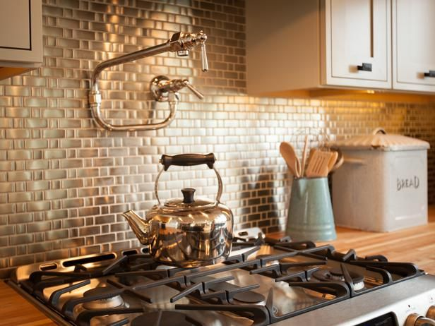 Metallic Tiles Backsplash