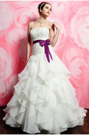 unique white wedding dress with purple