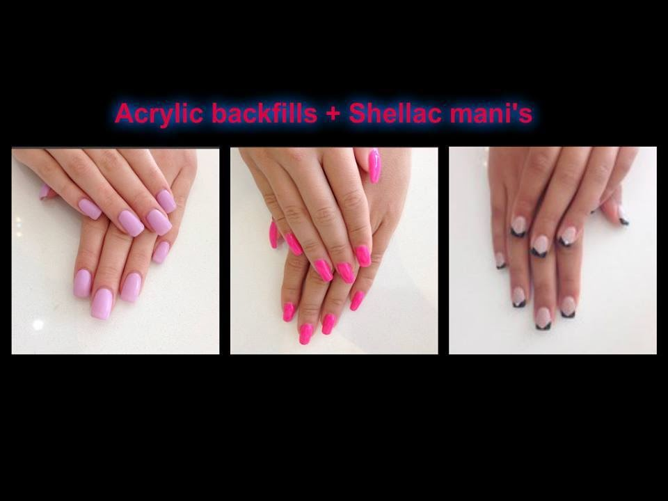 Acrylic-extensions-Shellac-manicure-clean-and-simple-classic-pinks-corals-peach
