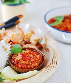 devil sambal with Scotch bonnet pepper and Thai red chilies