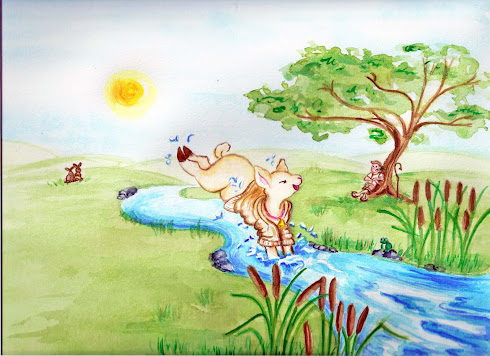 Sheepy jumps in brook, watercolor