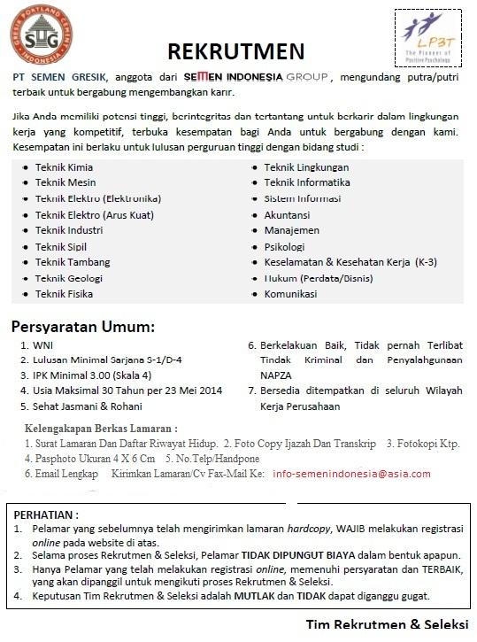 Info Lowongan Kerja Terbaru PT. Semen Indonesia (Persero)