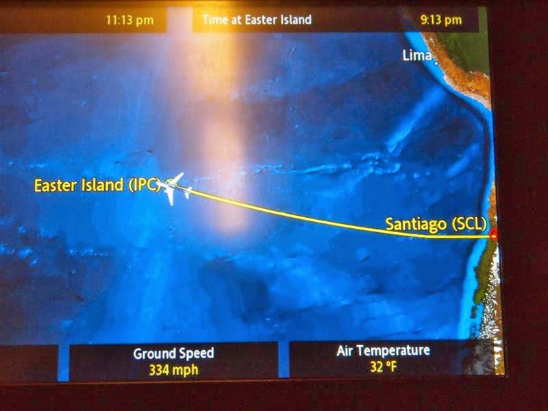 Trayecto aéreo Santiago de Chile - Isla de Pascua