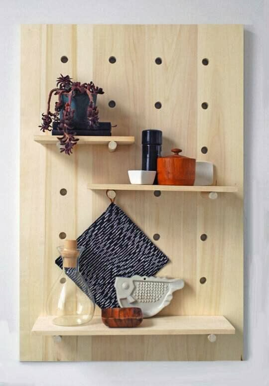 Peg Board Shelves from APARTMENT THERAPY