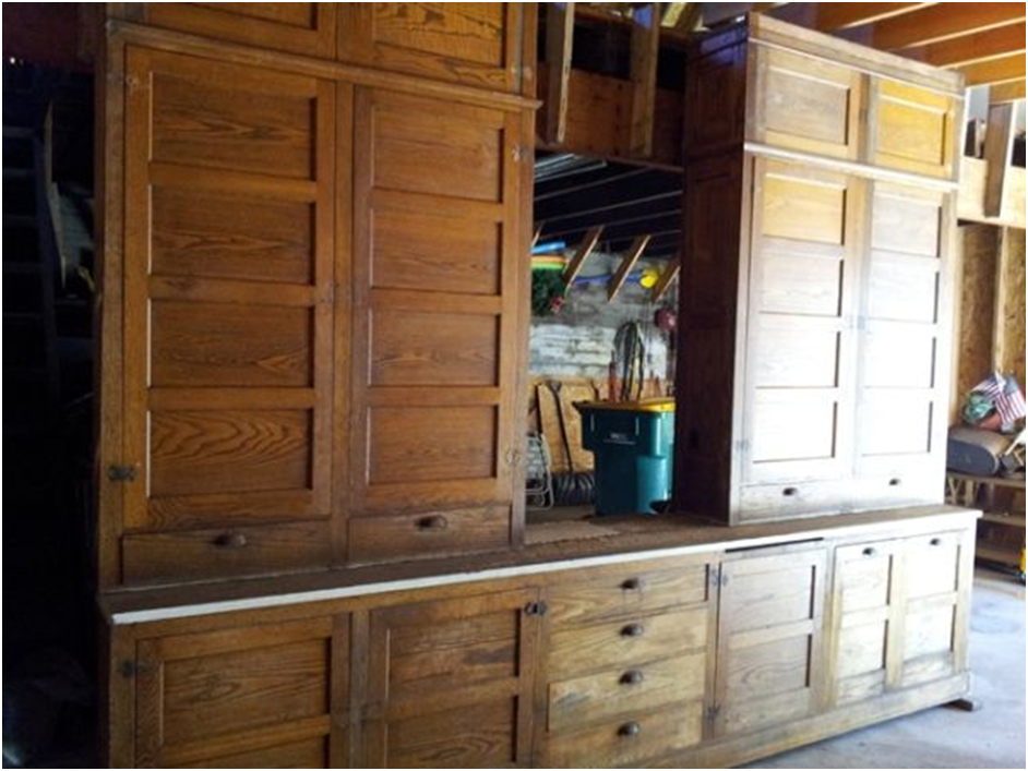 going dutch colonial style the mystery house On 1920s kitchen cabinets
