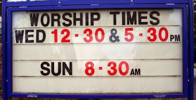 Changeabel lettering church sign with worship times