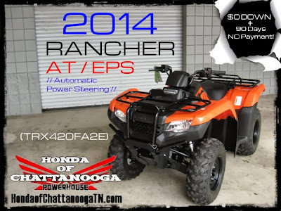 2014 Rancher 420 Orange AT EPS Power Steering Automatic TRX420FA2E TRX420 Wholesale ATV prices Chattanooga southern TN area GA AL KY TN SC NC