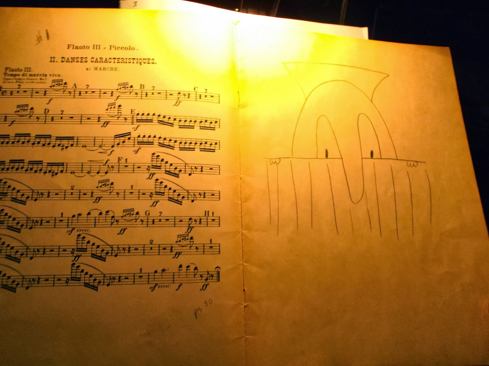 This Is The Piccolo Part From Which Cynthia D'andrea Has Been Playing Since  Who Knows When The Drawing Of Kilroy Was Done When She Was Hired (?) To  Play,