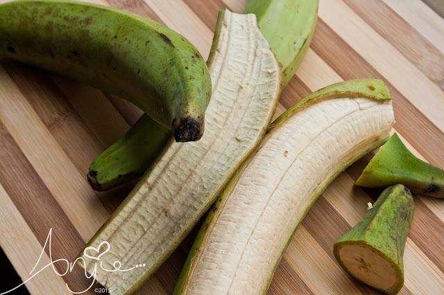 Green plantain, groene banaan, recipe, recept