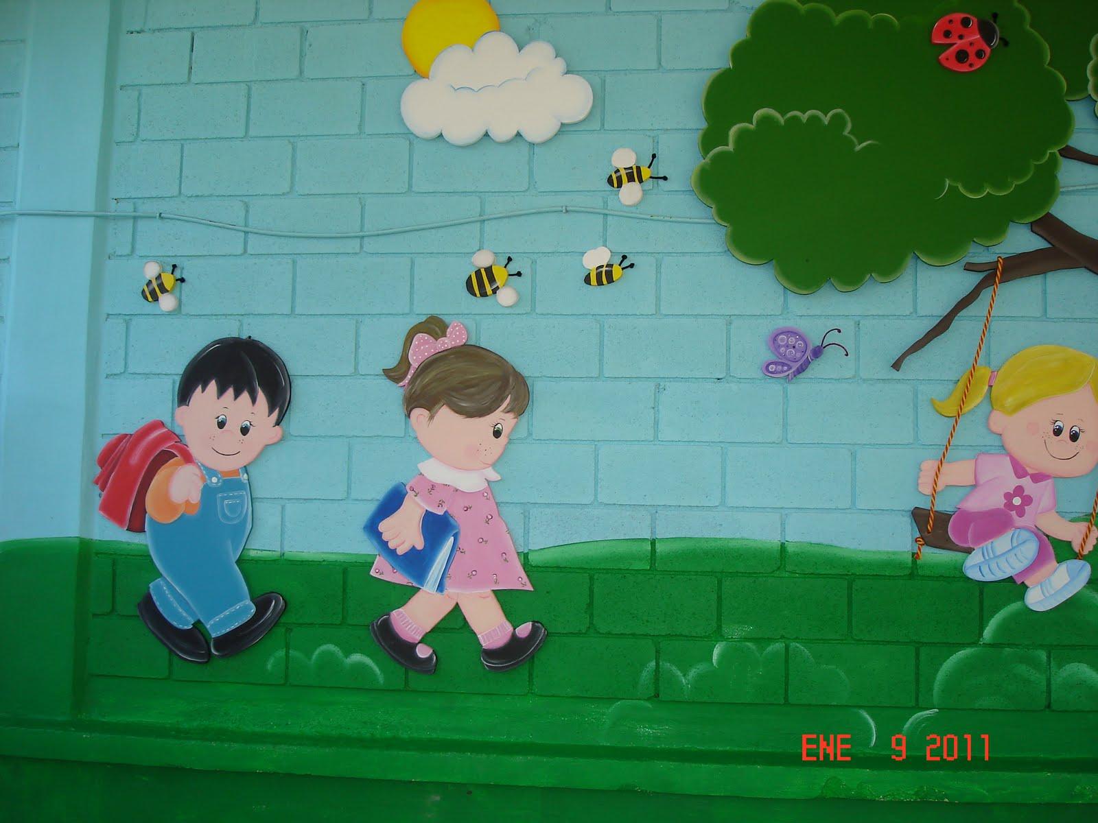 Murales infantiles ni os jugando kinder pedro calderon - Murales para ninas ...