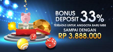 Bonus Deposit 33% Daftar M88 hari ini