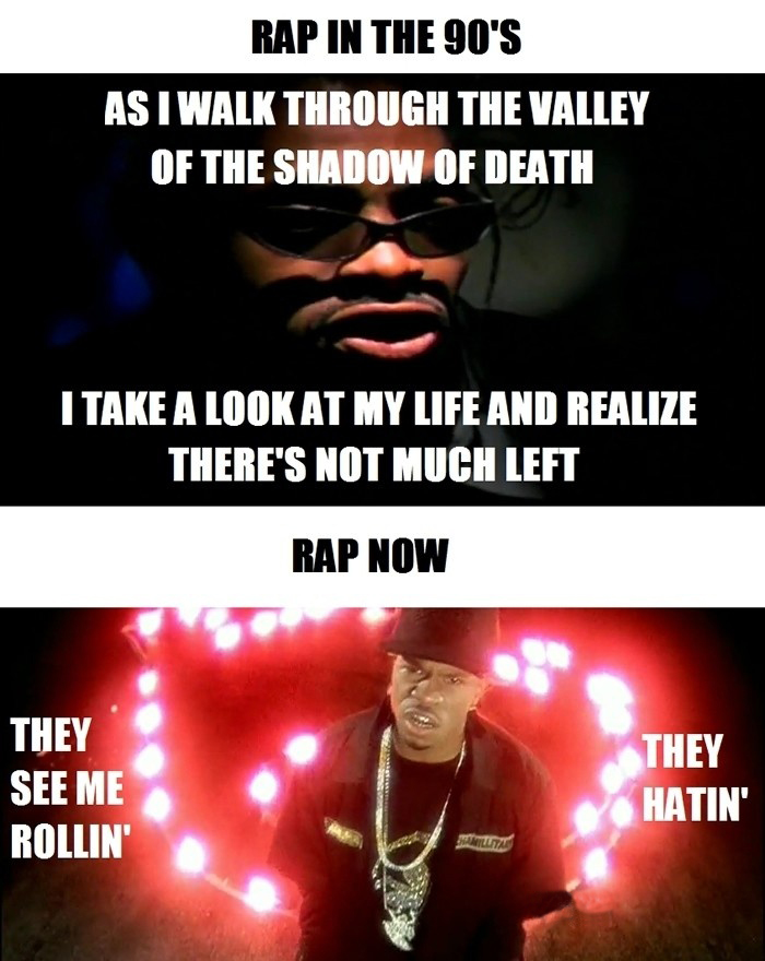 Rap In The 90's With Deep And Meaningful Lyrics vs Rap Now