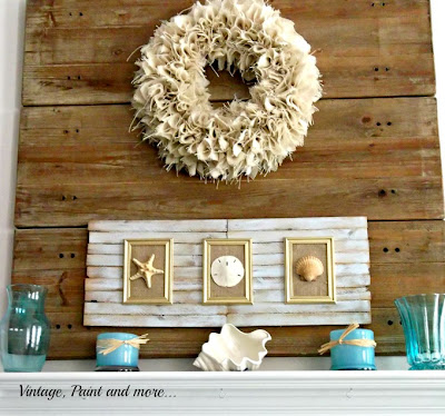 Vintage, Paint and more... using boards as a faux backdrop, burlap wreath, using shims for wall art