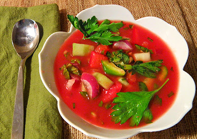Bowl of Gazpacho Garnished with Parsley